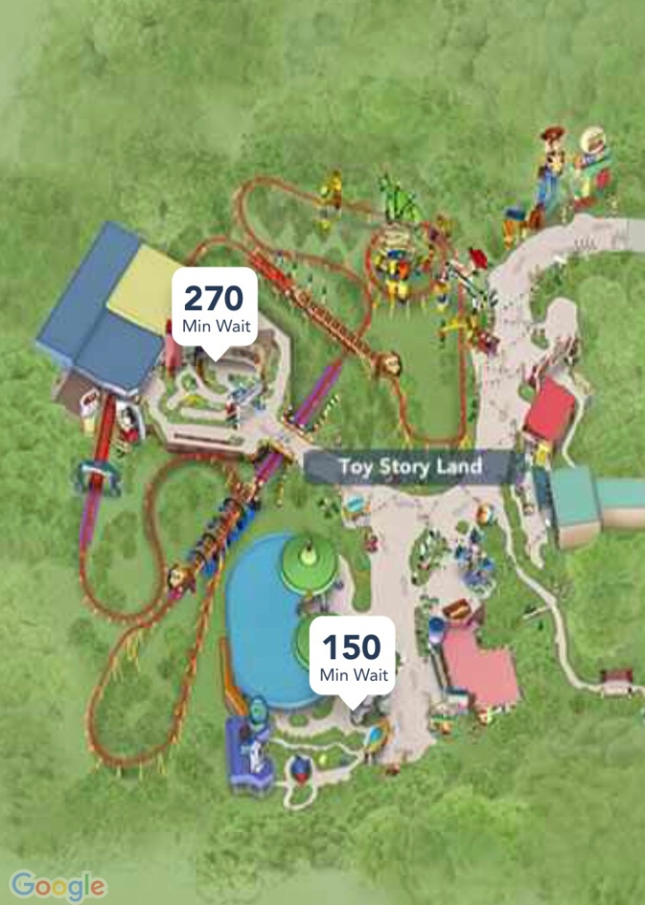The wait times for Toy Story Land on opening day.